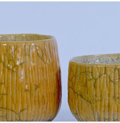 Coprivaso in ceramica raku
