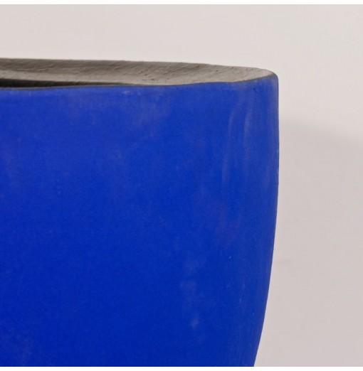 Vaso in terracotta blu opaco